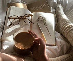 books, love, and coffee image
