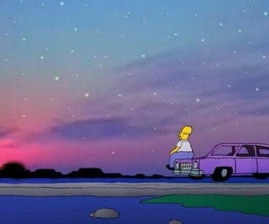 car, simpsons, and stars image