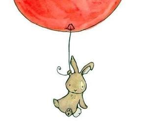 balloons, bunny, and rabbit image