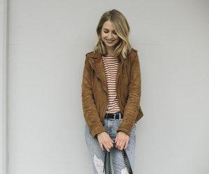 bag, biker jacket, and stripes image