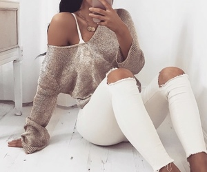 fashion, girl sweater, and ripped jeans image