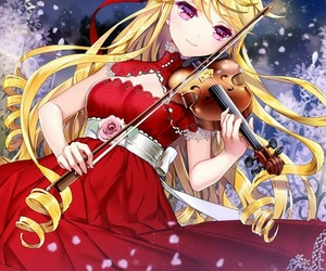violin, anime girl, and anime image
