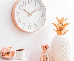 decoration, rose gold, and clock image