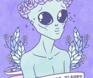 alien, planet, and pastel pink image