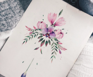 art, sketch, and flowers image