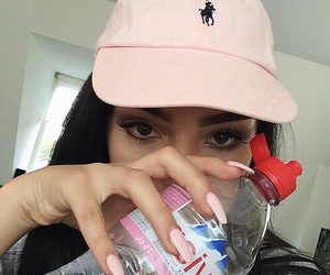 pink, nails, and evian image