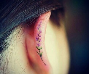 tattoo, ear, and flower image
