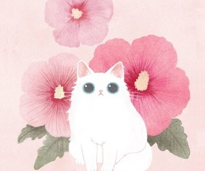 cat, wallpaper, and flowers image