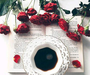 coffee, rose, and book image