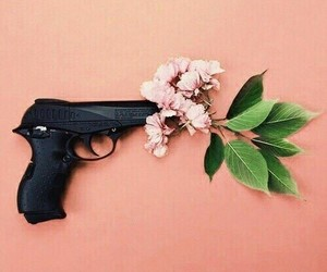 flowers, orange, and gun image