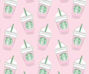 pink, starbucks, and wallpaper image