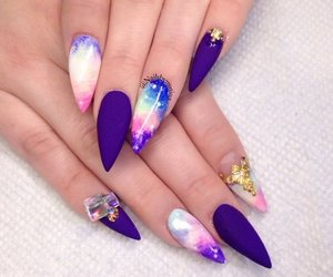 galaxy, nail art, and space inspired image