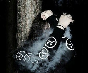 girl, sad, and smoke image