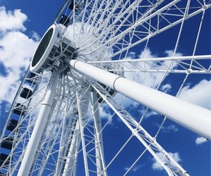 blue, chicago, and ferris wheel image