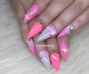 creative, pink, and acrylic nails image