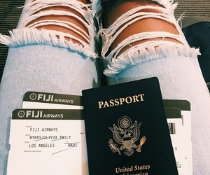 travel, passport, and jeans image