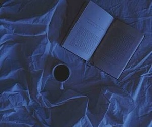 book, blue, and coffee image