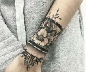 tattoo, flowers, and ink image