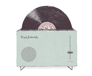 illustration, records, and vinyl image