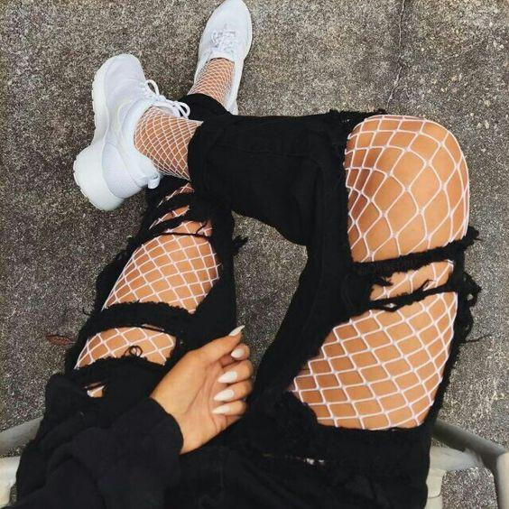 24fc0998c46 White Fishnet Tights Jeans-mate Mesh Pantyhose