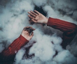hands, smoke, and white image