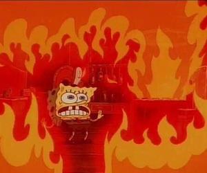 fire, meme, and spongebob image