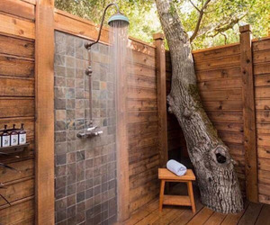 shower, bathroom, and outdoor image
