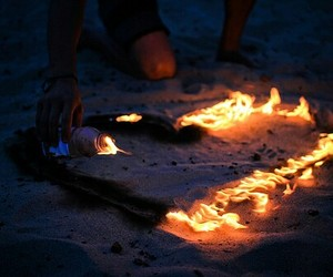 beach, fire, and heart image