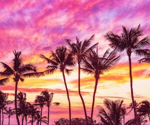 pink, sky, and beach image