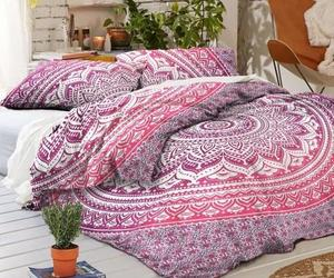 indian donna cover, pink bedding set, and mandala duvet cover image