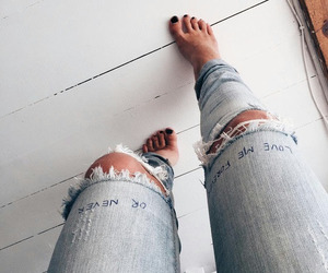blue, ripped, and jeans image