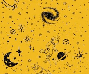 yellow, space, and aesthetic image