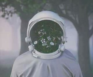 astronaut, out of this world, and flowers image
