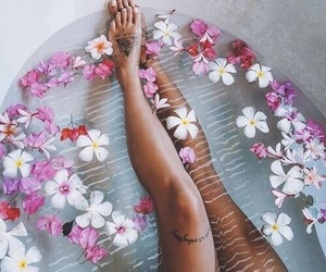 flowers, bath, and tattoo image