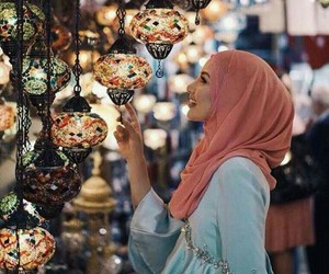 hijab, lights, and muslim image