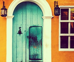 door, home, and blue image