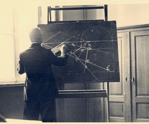 chalkboard, lecture, and professor image