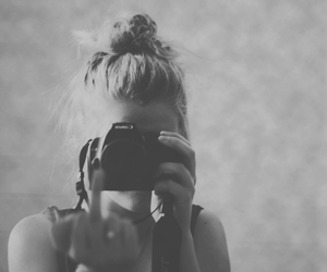 black and white, camera, and girl image