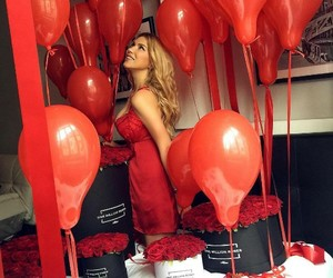 balloons, red, and rose image