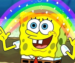 spongebob and rainbow image