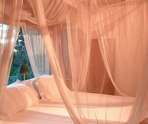 bed, peach, and bedroom image