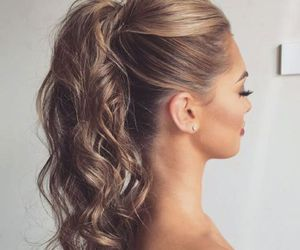 hair, ponytail, and curls image