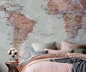 bed, room, and wall image