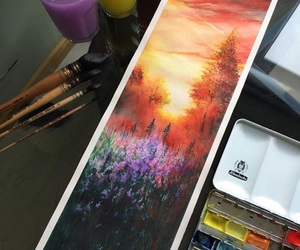 nature, painting, and purple image