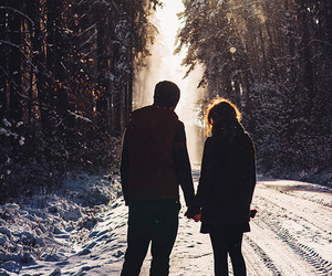 couple, light, and snow image
