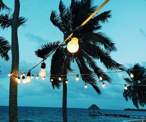 beach, lights, and palm trees image