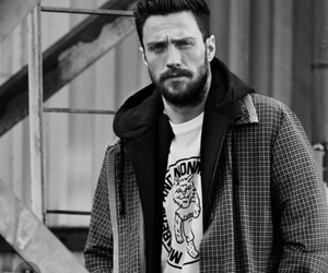 black and white, aaron taylor johnson, and nocturnal animals image
