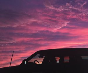 sunset, pink, and sky image