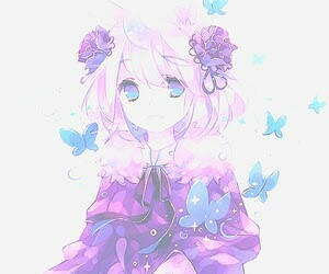 anime, anime girl, and butterfly image