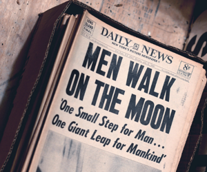 moon, newspaper, and old image
